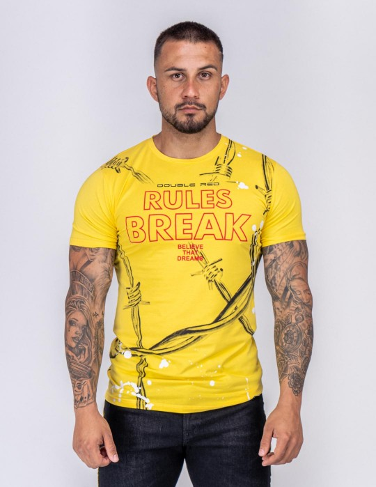 DOUBLE FUN T-shirt RULES BREAK Yellow