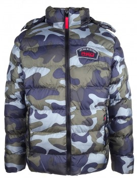 DR M Quilted Jacket Life Has No Reprise Blue Camo