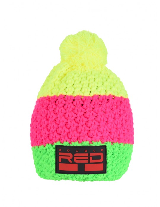DOUBLE RED COURCHEVEL Pompom Cap Green/Pink/Yellow NEON