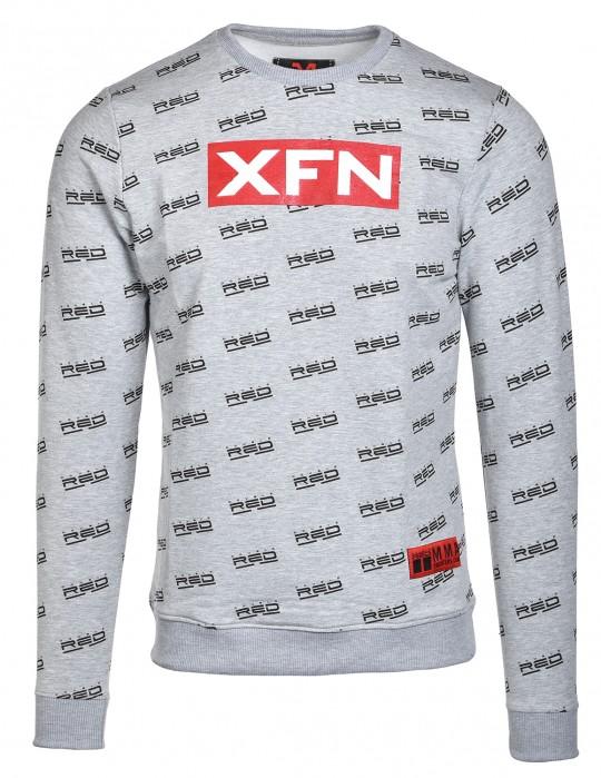 Sweatshirt XFN Fighters Club/DOUBLE RED Full Logo Grey
