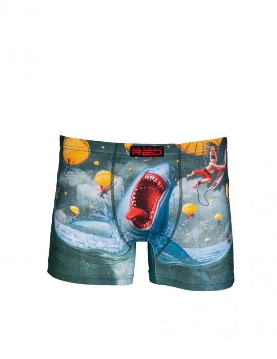 2FUN Boxers Mad Shark Green