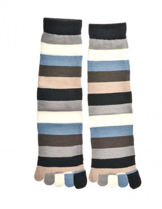 DOUBLE FUN Toe Socks Grey Brown Rainbow