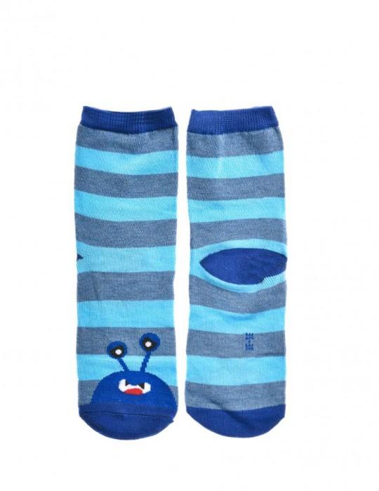 KID Fun Socks Stripes Dark Blue Monster